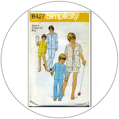 Simplicity No. 6427 Vintage Sewing Pattern - Teen-Boy's Pajamas - Size 4