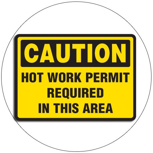 "Caution Hot Work Permit Requir... Self-Adhesive Label Sign - 7""H x 10""W - EMEDCO No. 42569GGHTEDSTL"