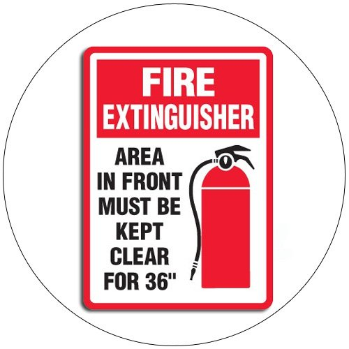"""Fire Extinguisher Area In ... Self-Adhesive Label Sign - 10""""H x 7""""W - EMEDCO No. 43534GGVTEDRFM"""