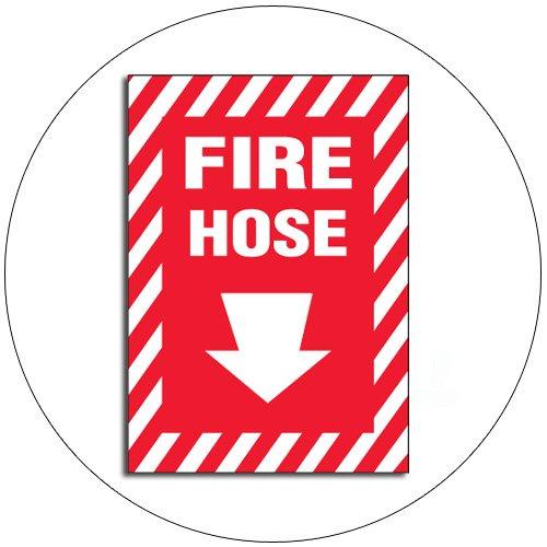 "Fire Hose Self-Adhesive Sign w/ Foam Self-Adhesive Backing - 10""H x 7""W - No. 15148"
