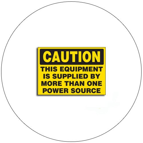 """Caution This Equipment Is Supplied By... Self-Adhesive Label - 3 1/2""""H x 5"""" W- EMEDCO No. QS3087"""