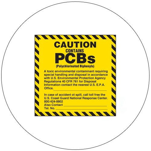 "Caution Contains PCB'S Self-Adhesive Label - 6""H x 6""W - EMEDCO No. 23436V"