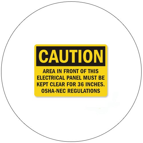 """Caution Area In Front Of This Electrical... Self-Adhesive Label - 3 1/2""""H x 5""""W - EMEDCO No. QS3642"""