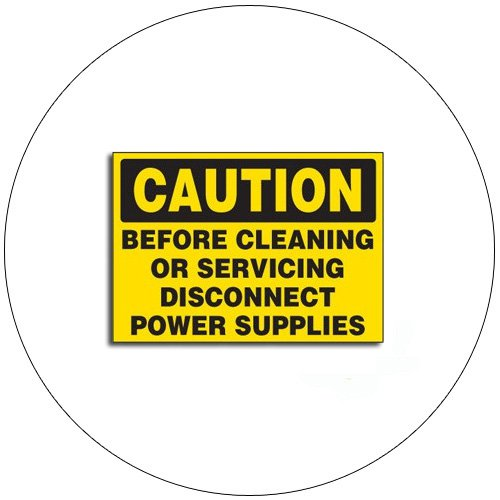 "Caution Before Cleaning or Servicing... Self-Adhesive Label - 1 3/4""H x 2 1/2""W - EMEDCO No. SQS11"