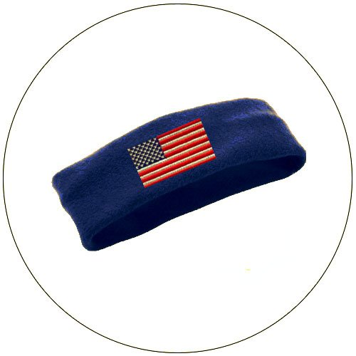 Soft Stretchable Chill Fleece Embroidered USA Flag Headband / Earband - Color: Navy Blue