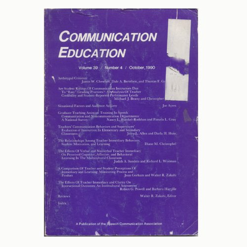 Communication Education Vol. 39 No. 4 October 1990 (Used - Good Condition).