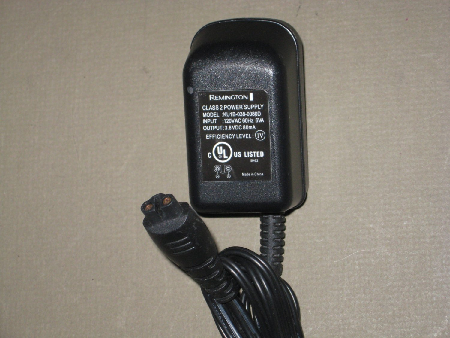 Remington AC Power Supply Adapter No. KU1B-038-0080D (Refurbished)