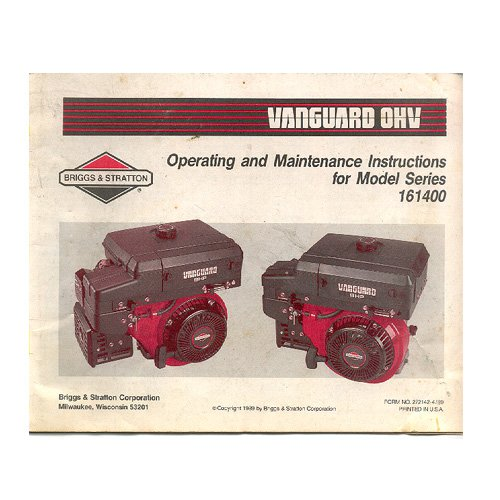 Original Briggs and Stratton Vanguard OHV Operating & Maintenance Instructions - 272142-7/89