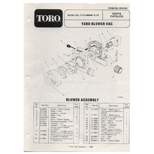 Original Toro Yard Blower Vac Model No. 51570-9000001 & Up - Parts Catalog - 3313-928 (1988