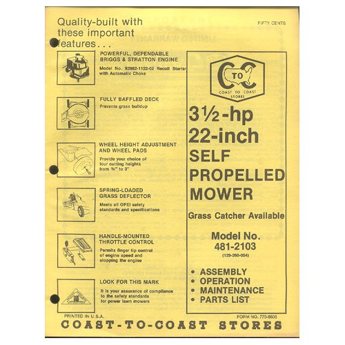"Original 1979 Coast To Coast Stores Owner�s Manual 3 ½ hp 22"" Self Propelled Mower Model 481-2103"