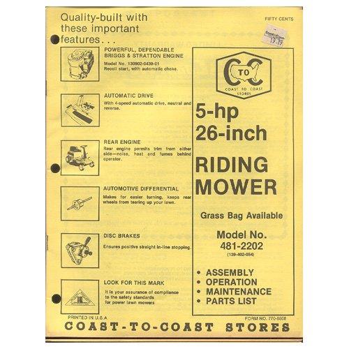 Original 1979 Coast To Coast Stores Owner�s Manual - 5-hp 26-Inch Riding Mower Model No. 481-2202