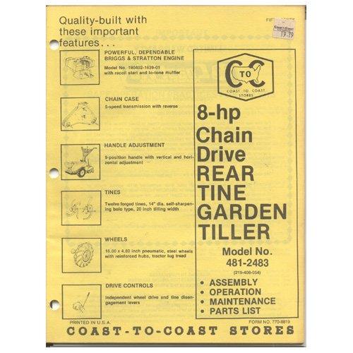 Original 1979 Coast To Coast Stores Owner�s Manual 8-hp Chain Drive Tiller Model No. 481-2483