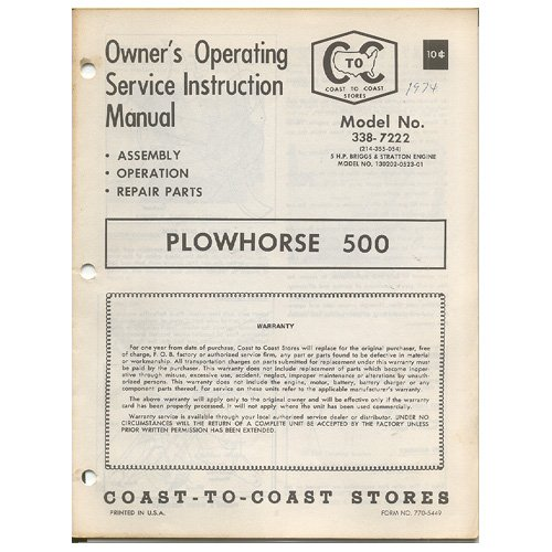 Original 1974 Coast To Coast Stores Owner�s Manual Plowhorse 500 Tiller Model No. 338-7222