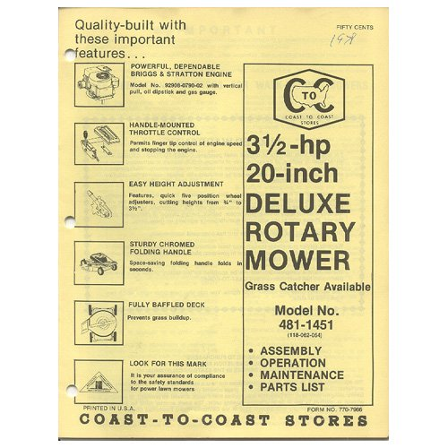 """Original 1978 Coast To Coast Stores Owner�s Manual 3 ½ hp 20"""" Deluxe Rotary Mower Model 481-1451"""