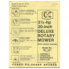 "Original 1978 Coast To Coast Stores Owner's Manual 3 ½ hp 20"" Deluxe Rotary Mower Model 481-1451"