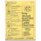"Original 1978 Coast To Coast Stores Owner's Manual 8 hp 30"" Lawn Tractor Model 481-1642"