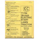 "Original 1978 Coast To Coast Stores Owner's Manual 11 hp 38"" Lawn Tractor Model 481-1675"