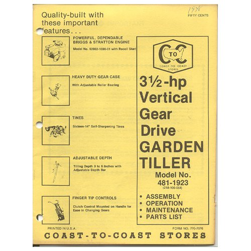 Original 1978 Coast To Coast Stores Owner�s Manual 3 ½-hp Gear Drive Tiller Model 481-1923