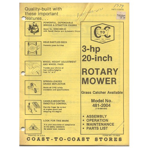 "Original 1979 Coast To Coast Stores Owner�s Manual 3-hp 20"" Rotary Mower Model No. 481-2004"