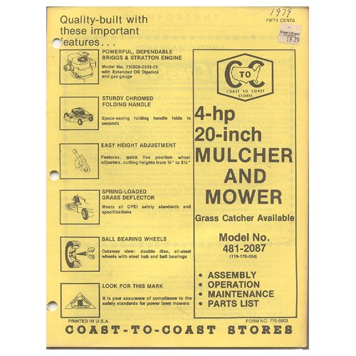 "Original 1979 Coast To Coast Stores Owner�s Manual 4-hp 20"" Mulcher & Mower Model No. 481-2087"