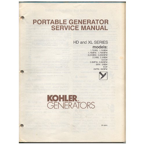 Original 1989 Kohler Portable Generator Service Manual HD and XL Series No. TP-5016