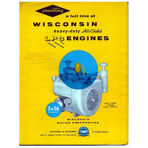 Original Wisconsin Engines Promotional Brochure LGP Engines Form No. S-329 (Vintage Collectible)