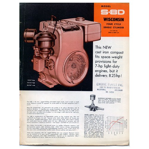 Original Wisconsin Engines Promotional Brochure S-8D Engines No. S-312A (Vintage Collectible)
