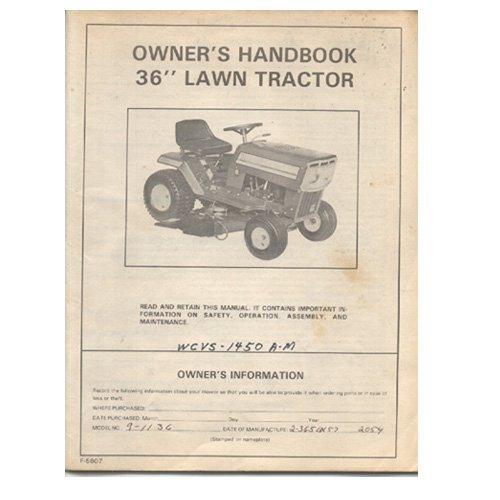 Original 1986 Murray Owner�s Handbook 36� Lawn Tractor Model: WCVS-1450A-M / 2-3651X No. F5607