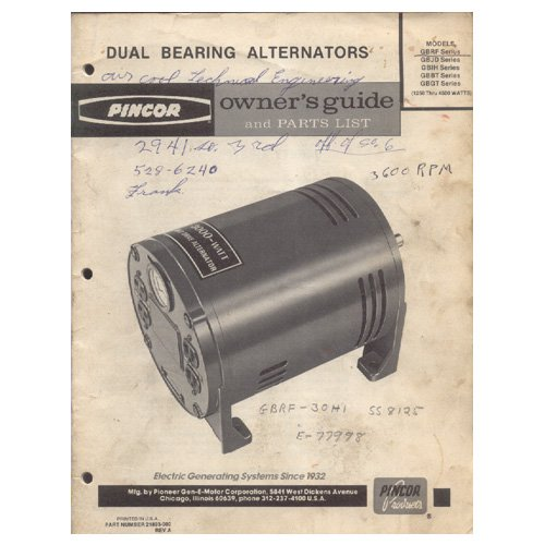 Original 1980's Pincor Products Owner�s Guide & Parts List Dual Bearing Alternators No. 21893-000