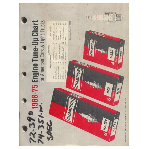 Original 1968-75 Champion Spark Plug Engine Tune-Up Chart For American Cars & Lt. Trucks Form No. 5T