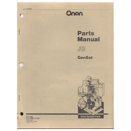 Original 1983 Onan Parts Manual JB GenSet No. 967-0223 6-83 (SPEC A-AD)  (Vintage Collectible)