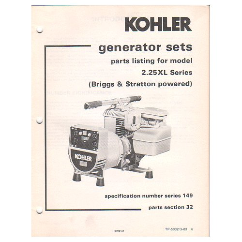 Original 1983 Kohler Generator Sets Parts List Model 2.25 XL Series No. TP-5032 (Collectible)
