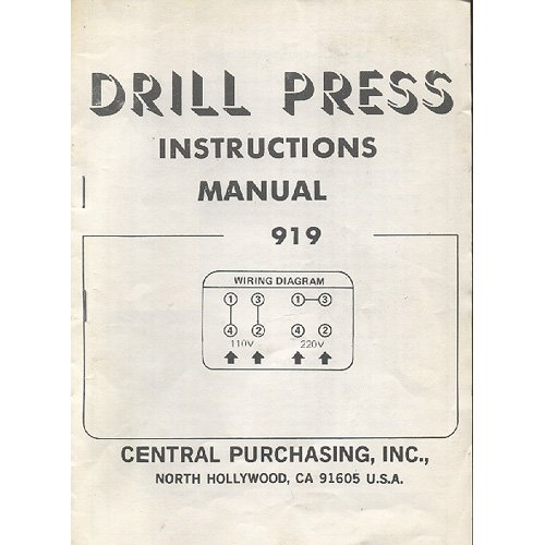 Original 1983 Harbor Freight Salvage Co. Drill Press Instructions Model 919 (Vintage Collectible)