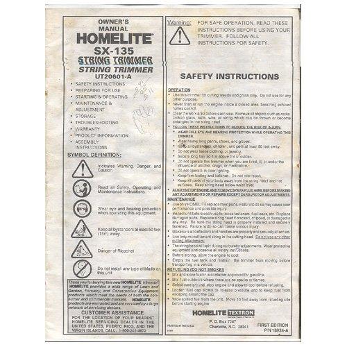 Original 1993 Owners Manual Homelite SX-135 Trimmer
