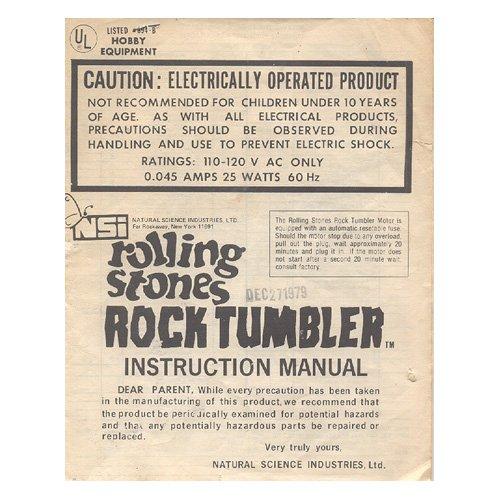 Original 1979 Rolling Stones Rock Tumbler Instruction Manual