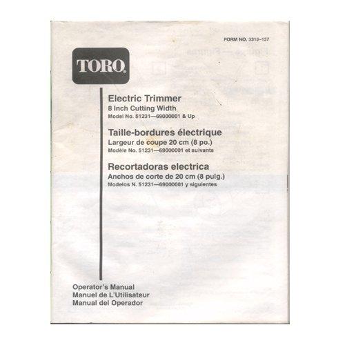 "Original 1994-1999 Toro Electric Trimmer 8"" Model 51231-69000000001 & Up User Manual Form 3318-137"