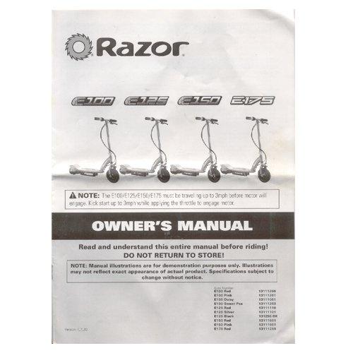 Original 2009 Razor Electric Scooter E100 E125 E150 E175 User Manual