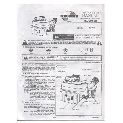 Original 1997 Tecumseh Model No. TC300 Owners Manual Form No. 181-846-14