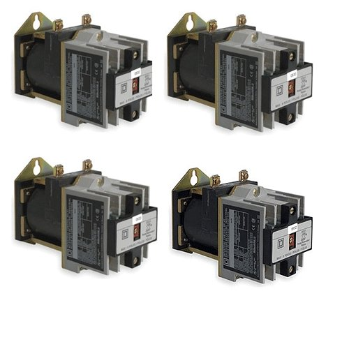 Contractors Bulk Lot Bundle (4) Industrial DC Control Relays 10 Amp Type X Square D No. 8501XDO40V53