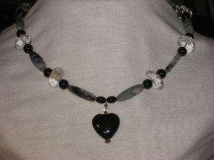 #9--Quartz, Amazonite, Onyx Heart Focal