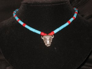 #18--Coral, Turquoise, Silver Buffalo Focal