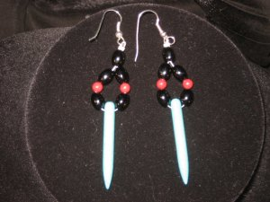 #1020--Red Mountain Jade, Turquoise Earrings on French Hooks