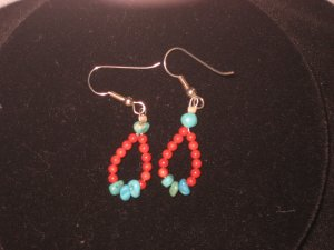 #1018--Turquoise, small Coral Earrings on French Hooks