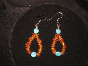 #1017--Amber, Turquoise Earrings on French Hooks
