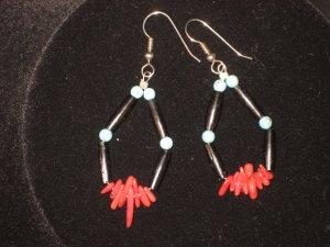 #1016--Buffalo Horn, Coppalinni, Coral, Turquoise Earrings