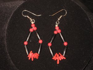 #1015--Buffalo Horn, Coral Earrings on French Hooks.