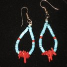 #1014--Turquoise Heishi, Coppalinni, Coral Earrings