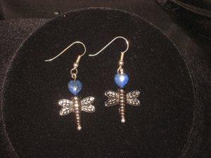 #1013--Lapis DragonFly Earrings on French Hooks