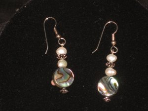 #1011-- Abalone, Pearl Earrings on French Hooks
