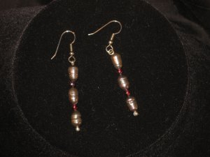 #1005--Black Pearl, Garnet Earrings on French Hooks
